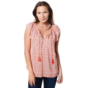 Joie Cotati Tassel Orange Print 100% Silk Blouse